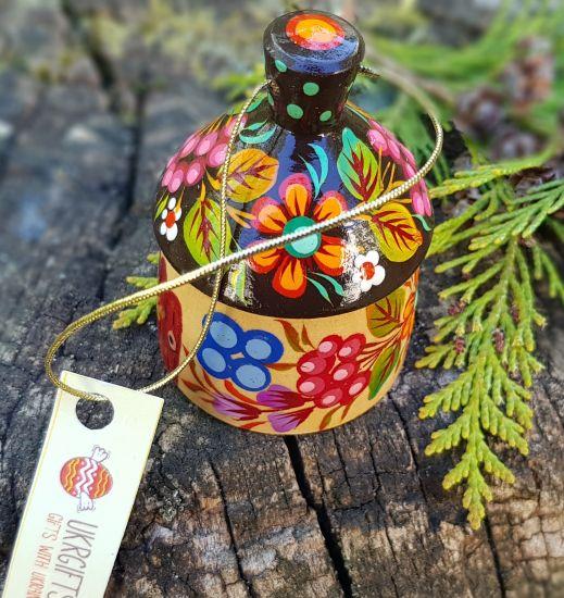 Small christmas bell, decorative country house, ukrainian ethnic Petrykivka painting