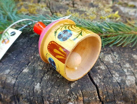 Wooden christmas bell country house shape, ukrainian Petrykivka art