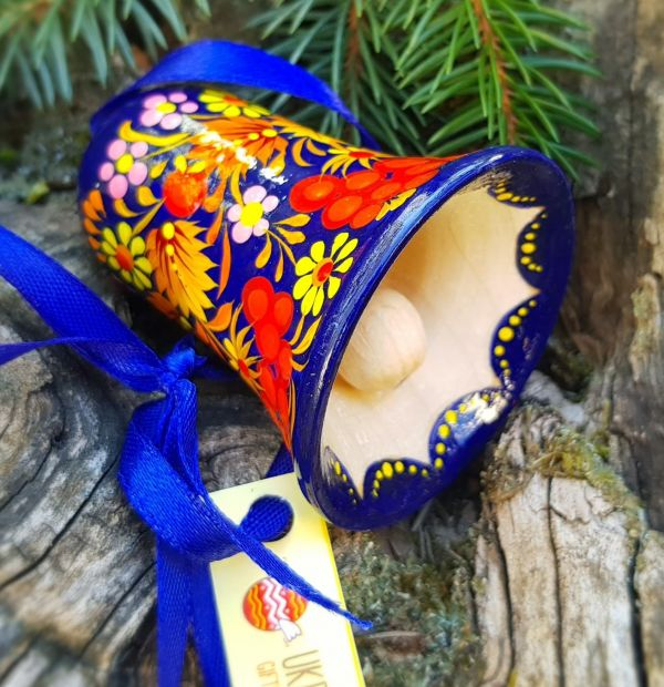 Decorative bell, wooden Christmas ornament, ukrainian painting