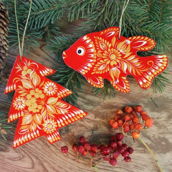 Rot-goldenes Künstler-Baumschmuck-Set, Fisch und Tannenbaum