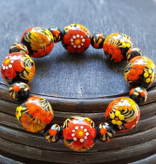 Wooden bracelet with flower ornament, hand made folk fashion wooden jewelry