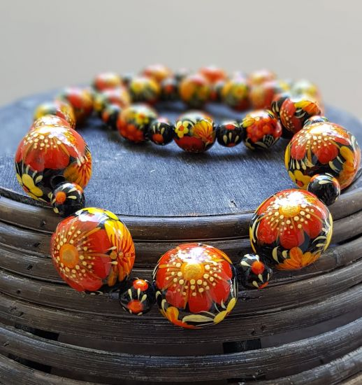 Wooden bead necklace, fashion hand painted with poppies flower wooden jewelry