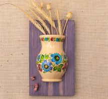 Kitchen wall decor, wooden hanging vase hand painted with blue flowers