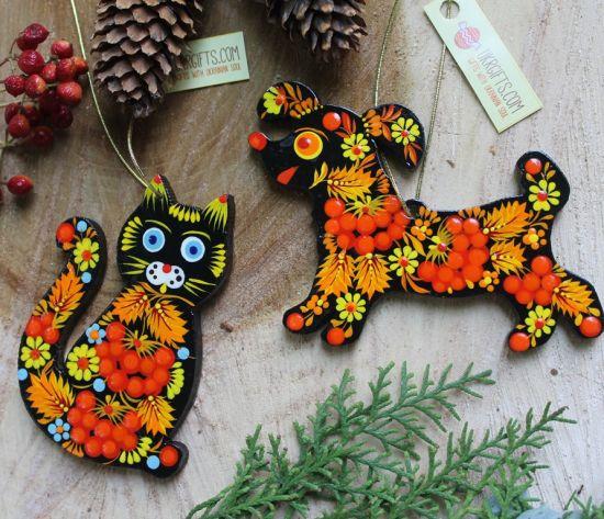 Dog Christmas tree ornaments handmade with Petrykivka painting