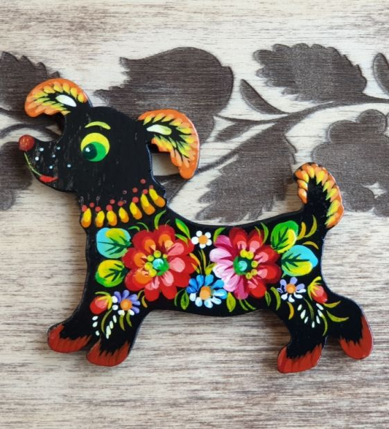 "Pretty kitchen decor fridge magnet and souvenir ""Dog"",  dog lovers gift"