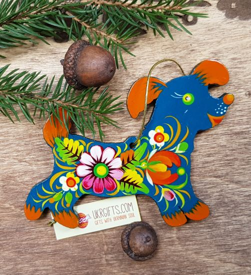 Dog christmas ornament, handmade of wood, gift idea for dog lovers