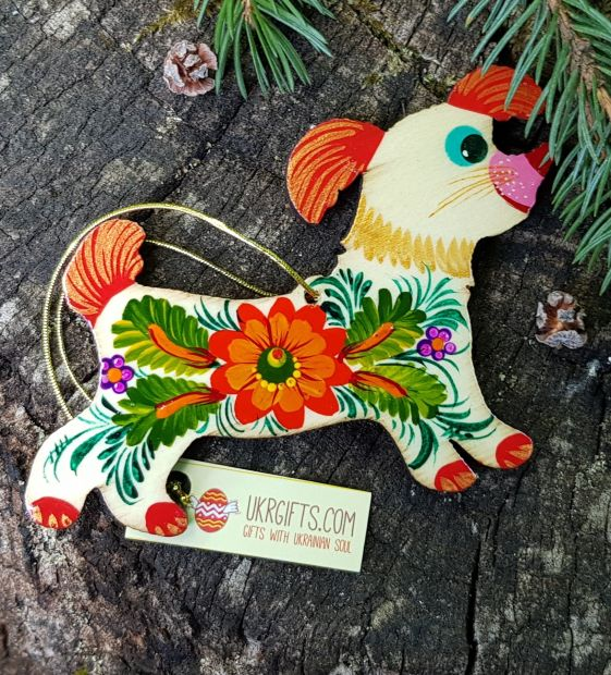 Dog wooden christmas decoration for children, handmade painted gift for dog lovers