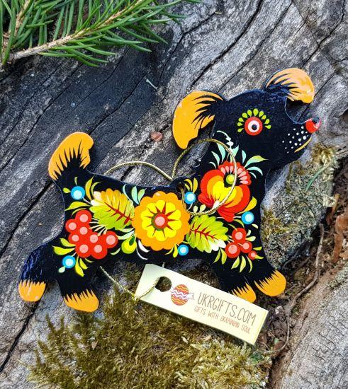 Dog wooden christmas ornament for children, handmade painted, gift for dog lovers