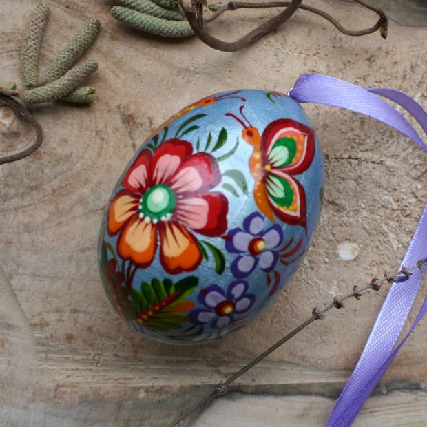 Original painted wooden Easter egg, Ukrainian Pysanky