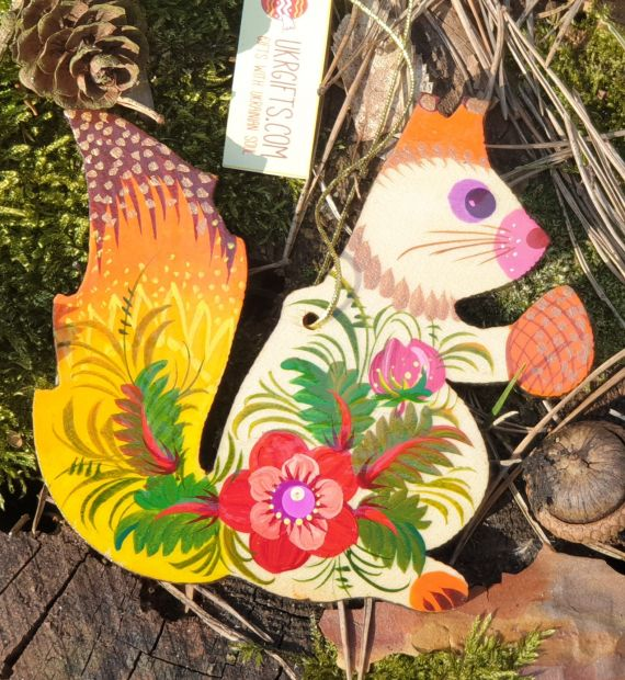 Christmas ornaments -Owl and Suirrel -hand painted wooden decorations