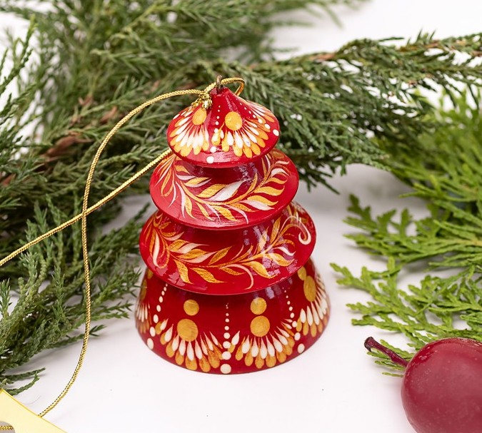 Roter Christbaumschmuck -Glöckchen - Tannenbäumchen aus Holz