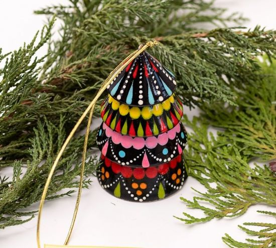 Colorful christmas ornament -bell tree shaped