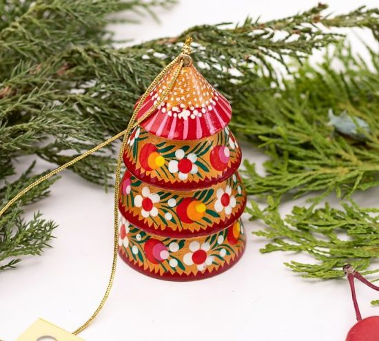 Golden Christmas bell decoration in the shape of Christmas tree