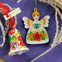 Christmas ornaments Angel and Christmas bell ukrainian painted