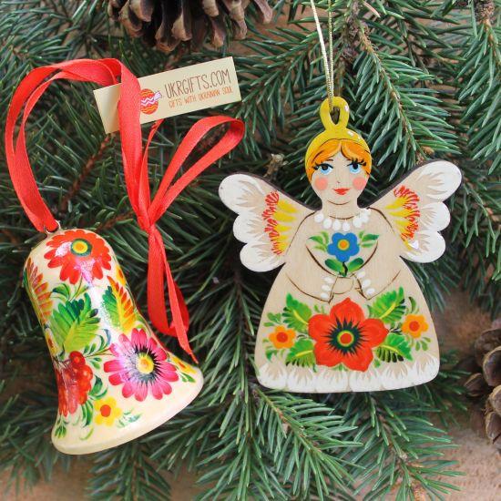 Nachhaltiger Christbaumschmuck aus Holz Engel und Weihnachtsglöckchen-Deko