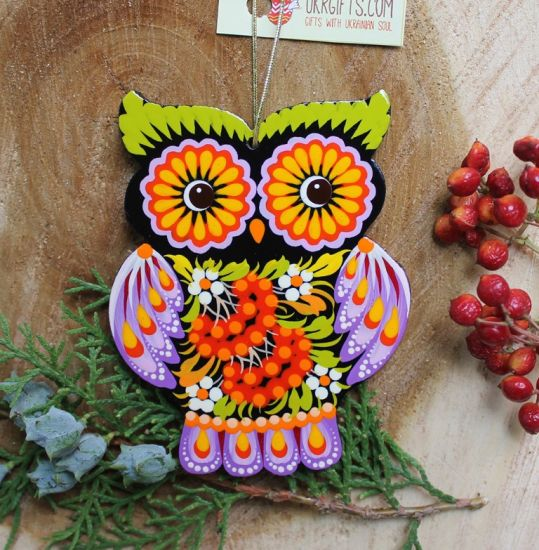 Wooden Christmas tree decorationsfunny animals owl and hedgehog