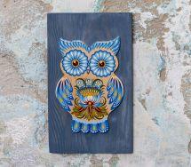 Eule-Dekoration, Wanddeko aus Holz mit blauem Muster