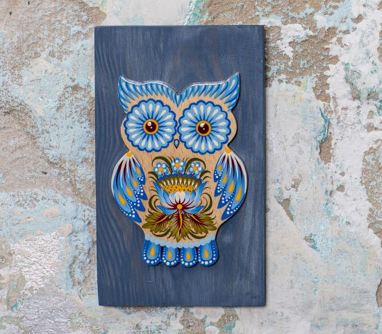 Owl wall decoration with blue painting, authentic ukrainian decor