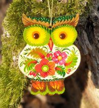 Rustikaler Сhristbaumschmuck aus Holz - farbenfrohe Eule