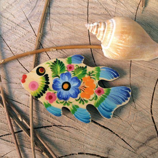 Fisch-Kühlschrankmagnet Tiere aus Holz - Petrykiwka-malerei