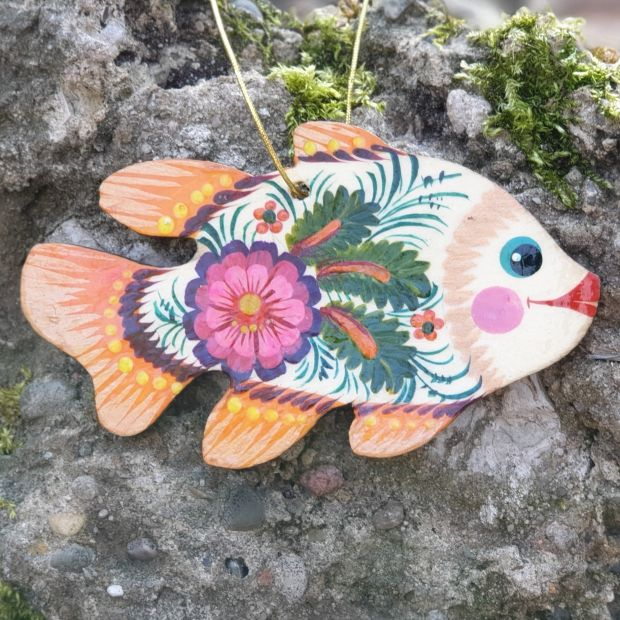 Unique Christmas fish ornament or just fish decor, wooden, handmade