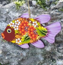 Fish Christmas ornament or just fish decor, wooden, hand painted on both sides