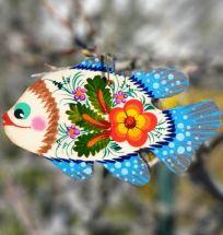 Farbenfroher Weihnachtsschmuck, Holz-Fisch, beidseitig handbemalt