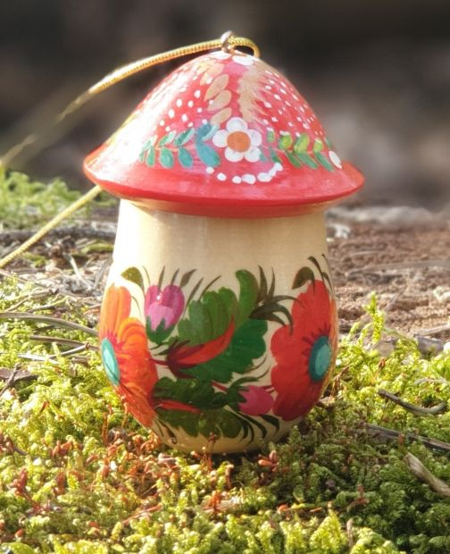 Mushroom wooden Christmas ornament and good-luck symbol, hand painted