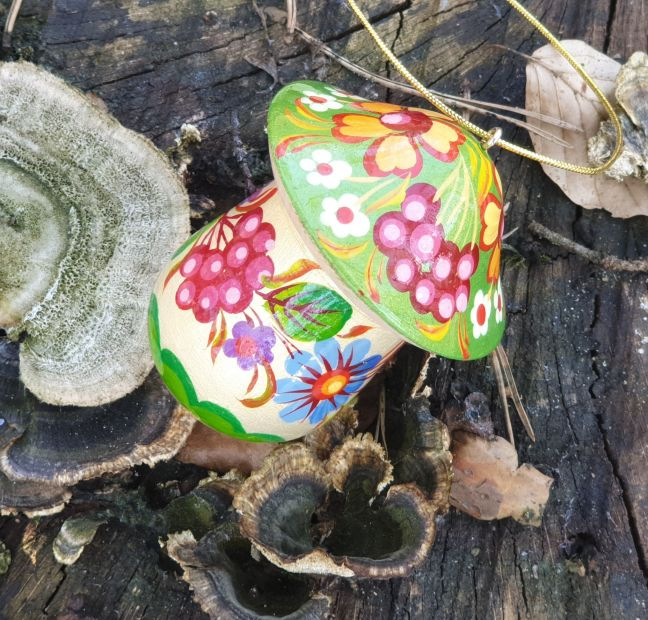 Mushroom wooden Christmas ornament and small present box, hand painted in Ukraine