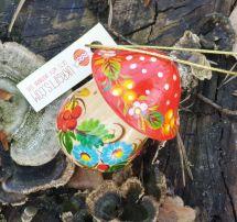 Wooden mushroom ornament and small present box