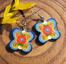 Folk style wooden earrings Butterfly , wooden, hand painted