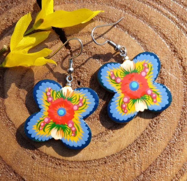 Folk style wooden earrings Butterfly , wooden, hand painted