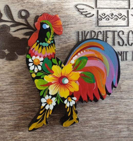 "Handmade kitchen decor fridge magnet and souvenir ""Rooster"", Petrykivka painting"