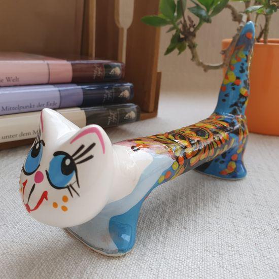 Katze-keramik Figuren handbemalte, lustiger Kater mit blauem Muster