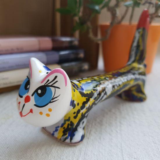 Ceramic cat figurines hand painted, funny tomcat striped