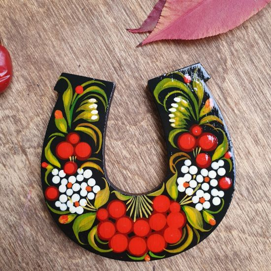 Lucky symbol horseshoe magnet, Petrykivka painting