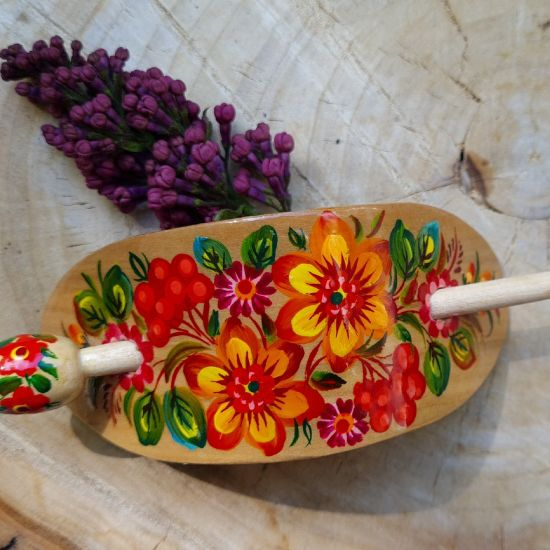 Hair pin - wooden painted hair accessory with floral design - ukrainian style