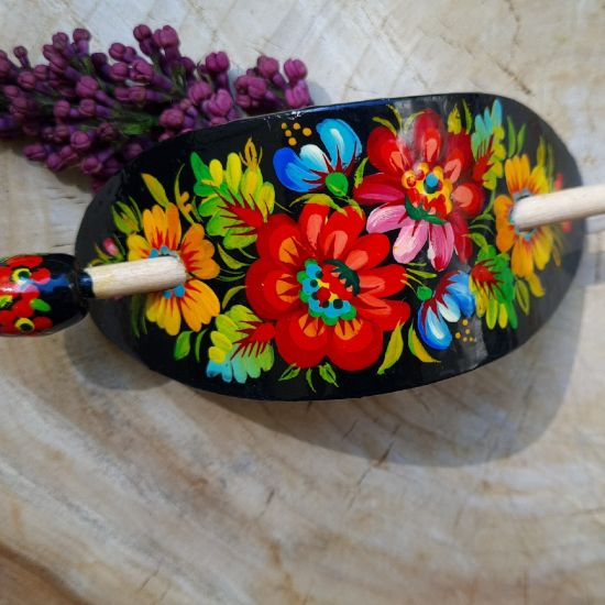 Hair pin wooden painted hair accessory with floral pattern in ukrainian rusic style