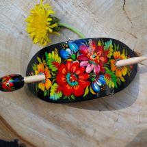 Holz handbemalte Haarspange boho rustikale Haarrutsche mit ukrainischem buntem Blumenmuster
