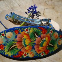 Original hair accessories made of wood with a floral pattern - hair clips - folk art