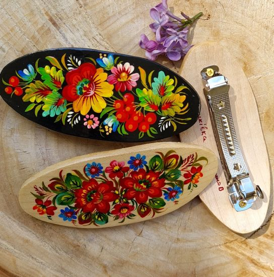 Hair clips - wooden painted hair accessory with floral pattern - ukrainian style