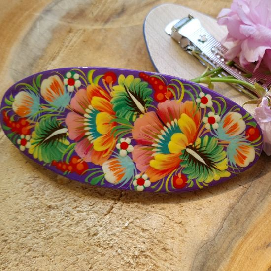 Hair clips - wooden painted hair accessory with floral pattern - ukrainian art
