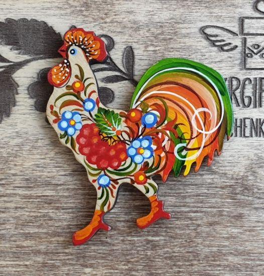 """Magnet """"Huhn"""" aus Holz, kleines Geschenk von Hand bemalt"""