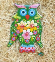 Owl jumping jack toy, wall decoration for children room, handmade
