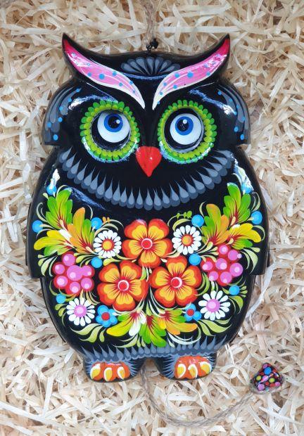Blinking owl like jumping jack toy, wall decoration for children room, handmade