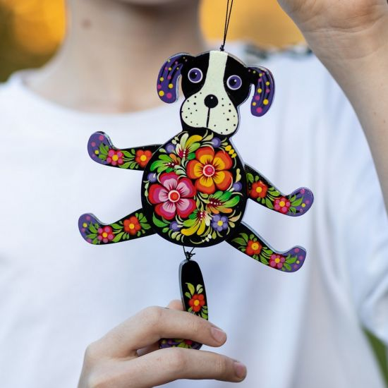 Black doggi - funny wooden jumping jack - hand painted