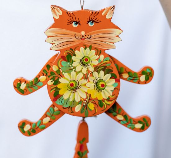 Funny red cat - wooden jumping jack - wall decoration for children's rooms