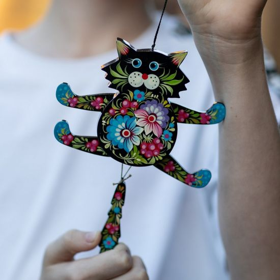 Black cat - funny wooden jumping jack - wall decoration