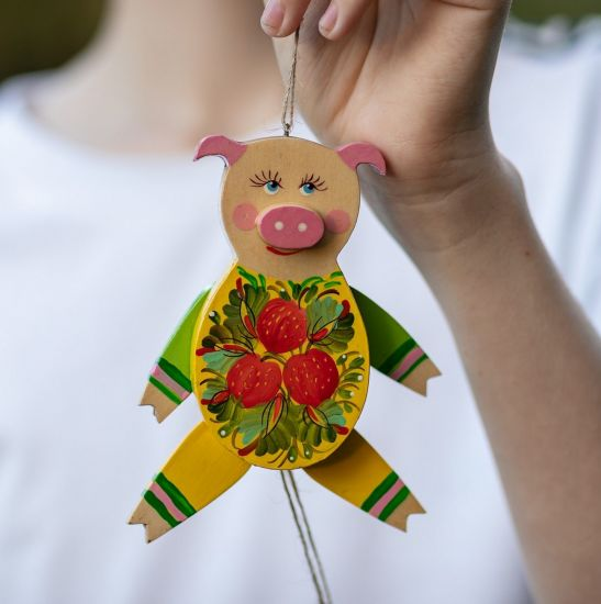 Funny piggy - jumping jack made of wood - wall decor