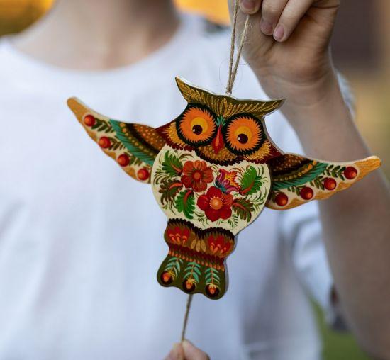 Owl -ukrainian traditional, handmade jumping jack